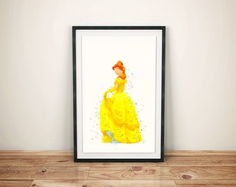 Beauty and Beast Print-Printed Beauty and Beast-Disney Belle Art-Kids Disney Belle-Disney Belle Prints- Disney Beauty and Beast Watercolor