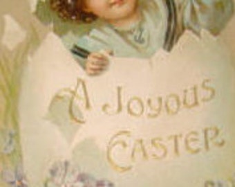 Vintage Easter Postcard (Child In An Egg)