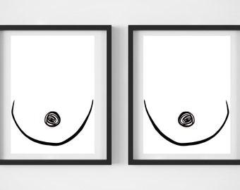 Boob Print, Digital Download, Wall Art, Illustration, Line Drawing Print