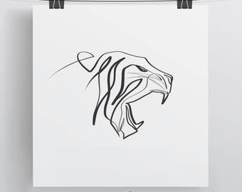 Tiger Art Print, Minimal Art Print, Cat Art Print, Single Line Art, Tiger Art, Unique Cat Gift, Gift for Mom, Gift for Dad, Tiger Line Art