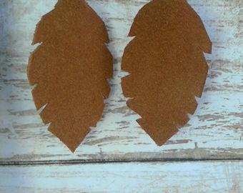 Suede Feather Earrings- Cinnamon