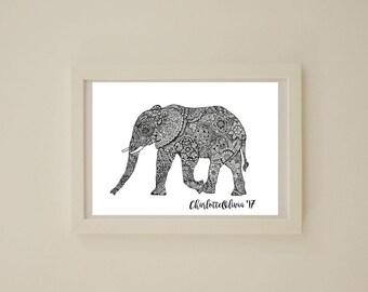 Mandala Elephant A4 Art Print
