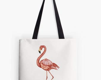 Bag pink Flamingo pattern printed on white background - tote bag was light colors - bird painting - art illustration