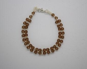 Bronze Swarovski crystal and cream seed bead bracelet