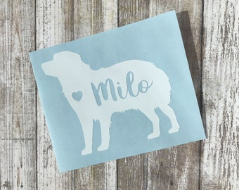 Dog Silhouette with heart and name decal