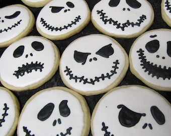 Jack Skellington Custom Sugar Cookies - Set of 10 Individually Packaged