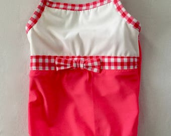 Girls Pink Checked One Piece Swimsuit