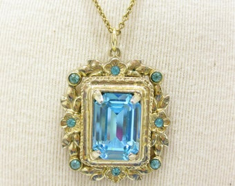 Gorgeous Coro Blue Emerald Cut Glass Pendant on Chain