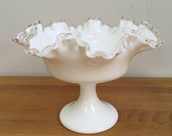 """Fenton Silver Crest 6"""" Milk Glass Compote"""