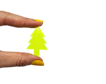 Christmas tree fir x5, Jewellery supplies X5, Xmas tree bijoux, Tree fir pendant, Xmas necklace, Xmas fir lasercut wood plexiglas - SET 5 pz
