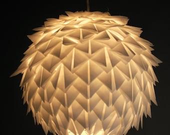 Hanging paper lamp/lighting handmade/white paper lamp/Japanese lamp «White Cactus Flower».