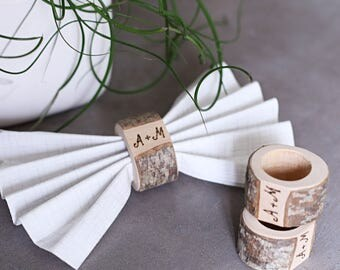 10 Wedding napkin ring, Personalized rustic napkin ring, woodland wedding napkin ring, napkin holder, rustic wedding table centerpiece