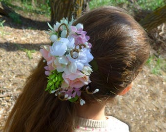 Blush pink modern Summer wedding crown Bridal flower comb Garden bride hair Bridal hair comb Wedding hair comb Bridal halo crown Forest comb