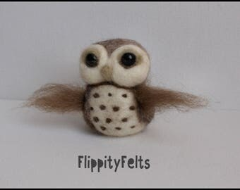 OOAK Needle felted rustic owl made with natural fibres