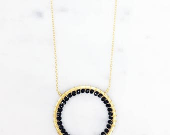 Black Circle Necklace | Gold Circle Necklace | Gold Pendant Necklace | Circle Pendant | Delicate Necklace | Infinity Necklace | Gift for Her