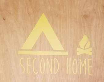 Second Home Camping Sticker-camping, tent, campfire, outdoors, nature, made to order, customizable