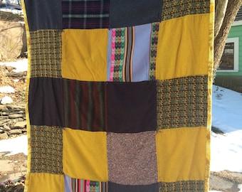 Mustard and Purple Wool,  Throw, Lap Blanket
