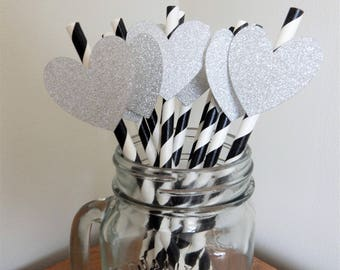 Party Straws. Black, White and Silver Heart Paper Straws. Wedding, Engagement, Birthday, Baby Shower, Party Decorations, Handcrafted