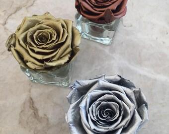 Metallic Individual Eternity Rose - Gold, Silver, Bronze