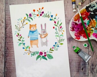 New Baby Woodland Watercolour A4 Art Print
