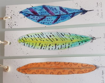 "Set 3 bookmarks series ""feathers"""