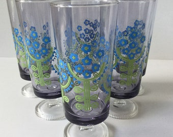 Set of 6 Aderia Glasses Made in Japan Flower Power Vintage Glass