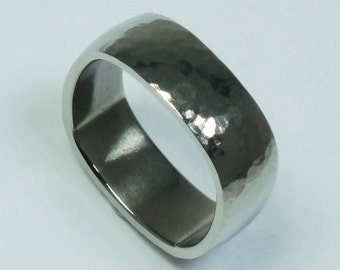 Titanium ring. Hammered and polished titanium men's ring. Titanium ring for men. Titan ring.