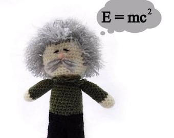 Albert Einstein,Knitted Einstein,Little Einstein,Einstein toy,kid gift,amigurumi Einstein,soft toy, stuffed boy boll,Einstein doll K008