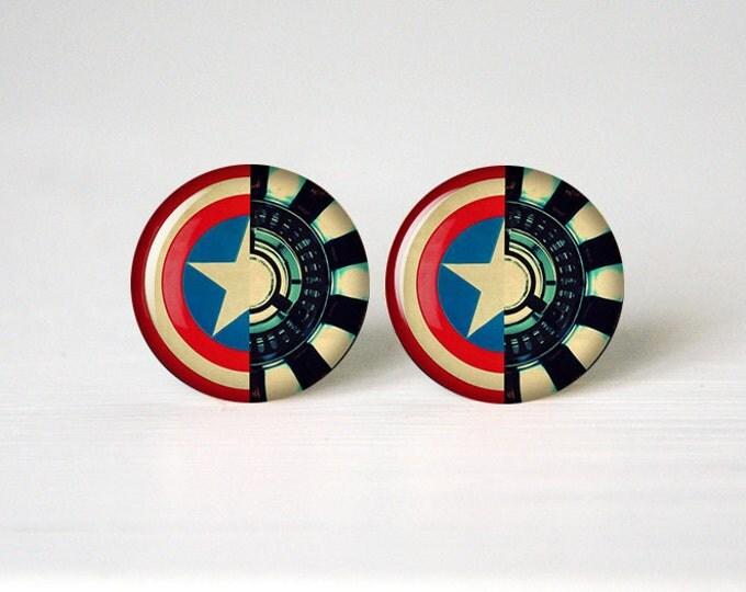 Iron man vs captain America earrings, Arc reactor America shield stud earrings, Superheros shield earrings, Art Gifts, fan gift