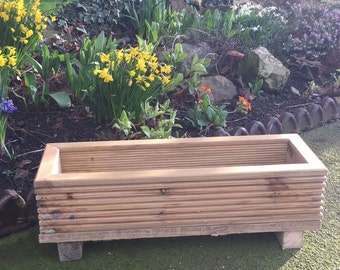 wood patio garden planter herbs flowers handmade (24 x 12 inch 18 litre)