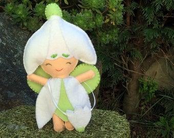 Snowdrop flower fairy, flower child doll, Waldorf inspired season doll