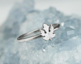 Sterling Silver Maple Leaf Ring Solid .925 Maple Leaves Custom Size