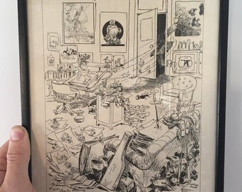 """Framed Photograph of Original Etching made by J.M. """"Ding"""" Darling"""