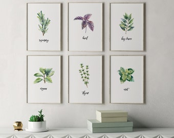 Herb Prints, Kitchen Decor, Botanical Print Set, Unique Botanical Prints, Home Decor, Wall Decor, Dining Room Decor, Garden Decor, Chef Gift
