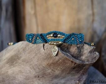 three coloured macrame bracelet in turquoise