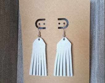 Dove Blue Leather Fringe Earrings