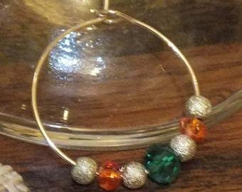 Wine Glass Charm Green, Silver & Orange