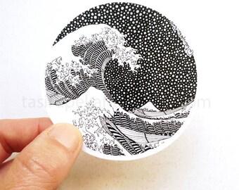 The Great Wave. Kanagawa. Sticker. Vinyl. Art. Famous Painting. Katsushika Hokusai. Japan. Car. Macbook. Black and white. © FREE SHIPPING