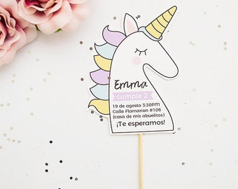 Invitation to parties baby Unicorn