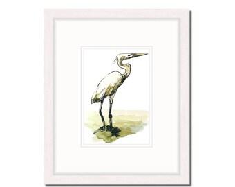 "4 x 6 watercolor print, egret nature art, Florida bird beach house wall decor   4"" x 6"" in. print (10.1 x 15.24 cm)"