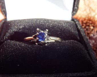 Sapphire Flower ring with Black accents