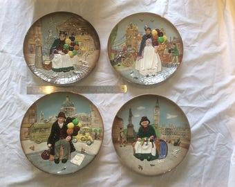 Four Royal Doulton Street Vendor Plates c1980