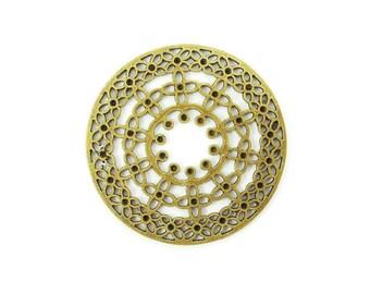 6pcs Round Filigree Brass Findings 44mm