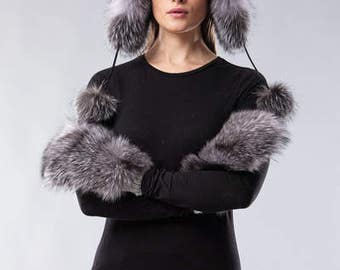 Handmade blue silver fox fur Ushanka hat