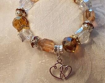 Handmade Stretchy Amber Heart Bracelet