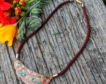 Cloisonne Bib Necklace // Boho Floral Enamel Choker Necklace