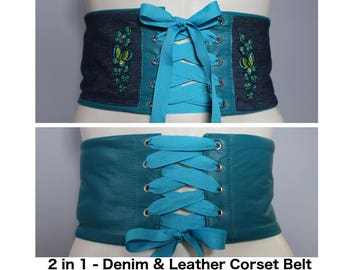 Blue Leather Corset Belt / Blue Denim Corset Belt with Custom Butterfly Embroidery – REVERSIBLE