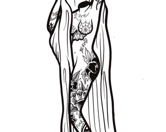 A4 Tattooed Lady Print
