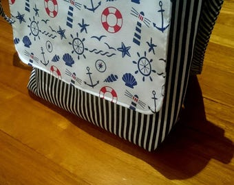 "Medium Canvas Handmade Sling Tote Bag with ""Seaworld"" Laminated Cotton Fabric"