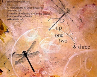UP, One, Two, Three - Dragonfly, blank greeting card